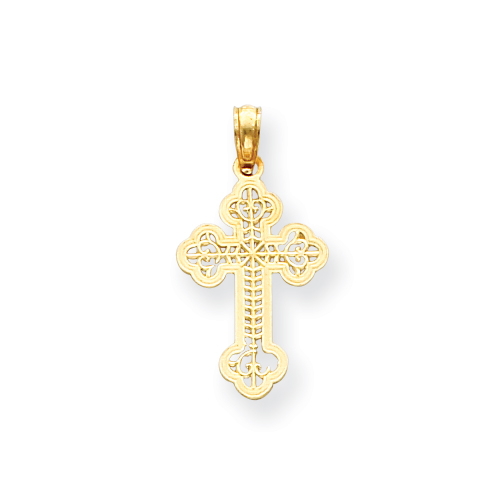 14kt Yellow Gold 3/4in Cut Through Budded Cross