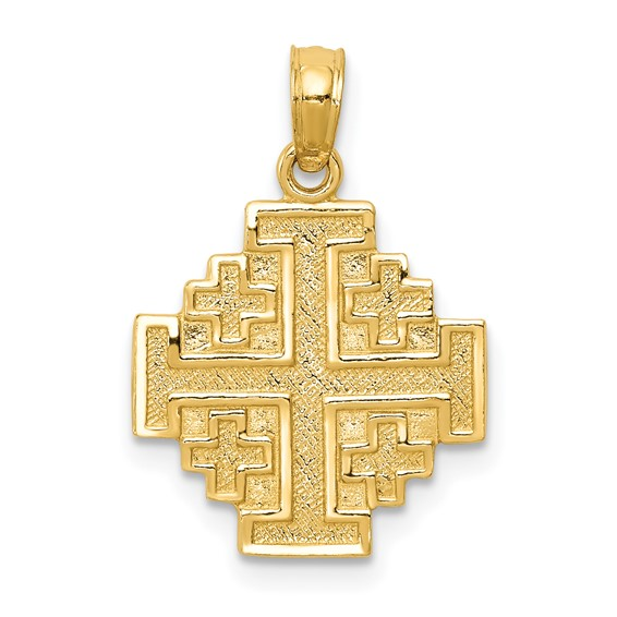 14kt Yellow Gold 5/8in Jerusalem Cross Pendant