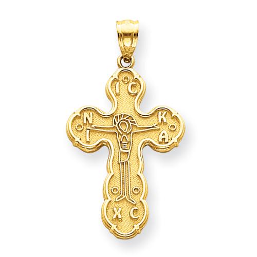14kt 1 1/8in Satin Crucifix Pendant
