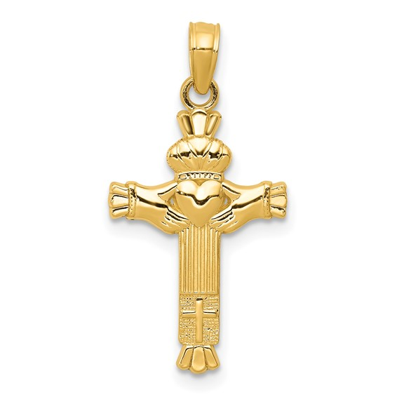 14kt Yellow Gold 3/4in Claddagh Cross