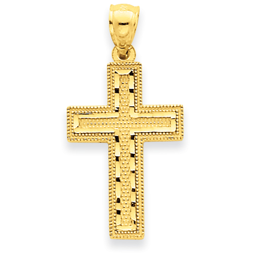 14k Yellow Gold 7/8in Diamond-cut Beaded Cross Pendant