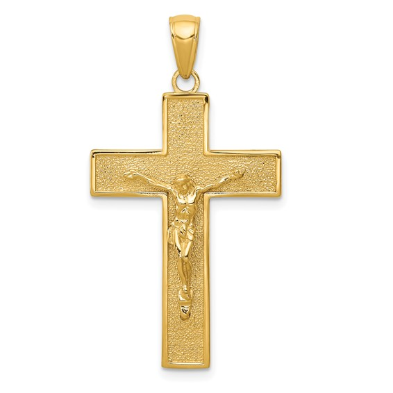 14kt Yellow Gold 1 1/8in Textured Latin Crucifix Cross