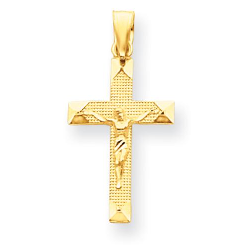 14kt 3/4in Diamond-cut Crucifix Pendant