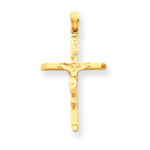 14kt Yellow Gold 1in INRI Slender Crucifix Pendant