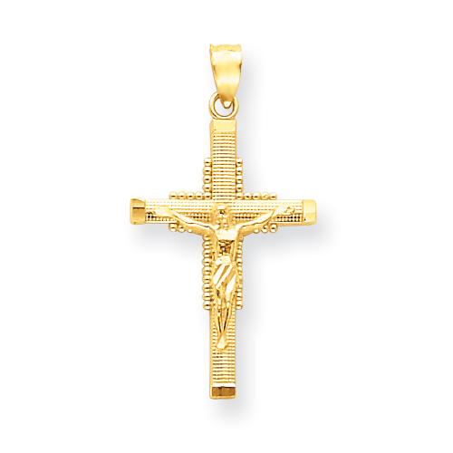 14kt Yellow Gold 1in Textured Crucifix Pendant