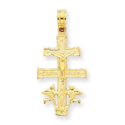 14kt 13/16in Cara Vaca Crucifix Pendant
