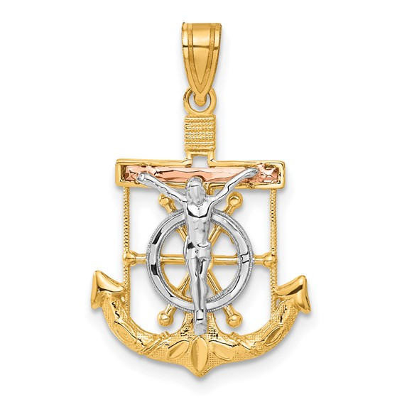 14kt Tri-color Gold 7/8in Diamond-cut Mariner's Cross