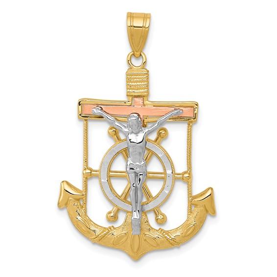 14kt Tri-color Gold 1 1/16in Mariner's Cross Pendant