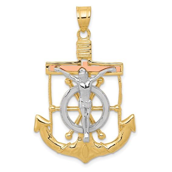 14kt Tri-color Gold 1 3/8in Mariner's Cross Pendant
