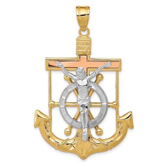14kt Tri-color Gold 1 7/16in Mariner's Cross Pendant