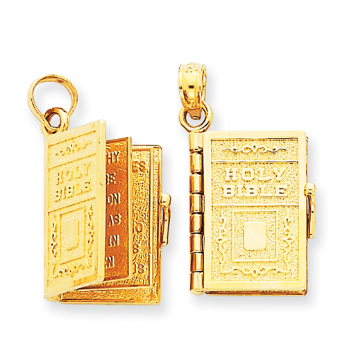 14kt Yellow Gold 5/8in Lord's Prayer Bible Pendant