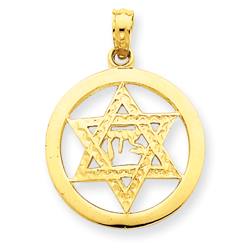 14kt Gold 11/16in Jewish Chai in Star of David Pendant