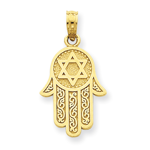 14k Yellow Gold Jewish Hand of God with Star of David Pendant 11/16in
