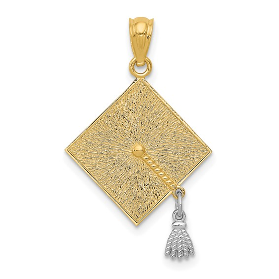 14kt Two-tone Gold 3/4in Graduation Cap with Moveable Tassel Pendant