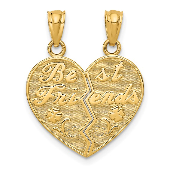14kt Yellow Gold 5/8in Best Friends Heart Pendant with Flowers