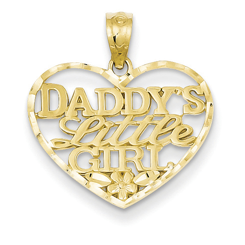 Daddy's Little Girl Pendant 3/4in 14k Yellow Gold