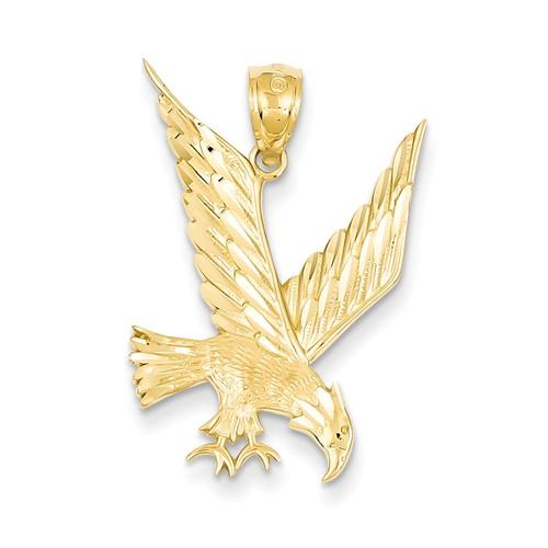 14kt Yellow Gold 1in Diamond-cut Eagle Pendant
