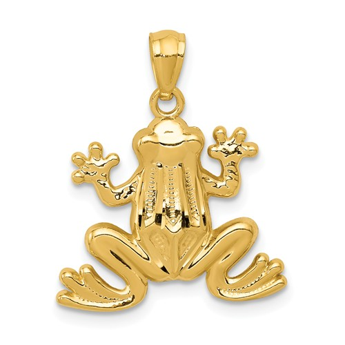 14k Yellow Gold Frog Pendant 5/8in
