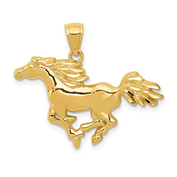 14kt Yellow Gold 3/4in Running Horse Pendant