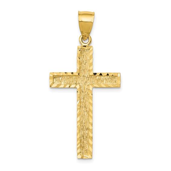 14kt 1 1/4in Diamond-cut Cross Pendant