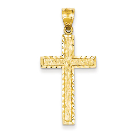 14kt Yellow Gold 1 1/4in Diamond-cut Textured Cross