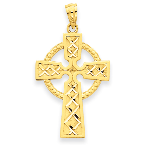 14kt Yellow Gold 15/16in Celtic Cross Pendant