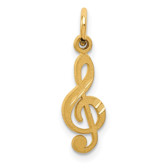 14kt Yellow Gold 1/2in Treble Clef Charm