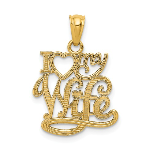 14k Yellow Gold I Love My Wife Pendant 5/8in