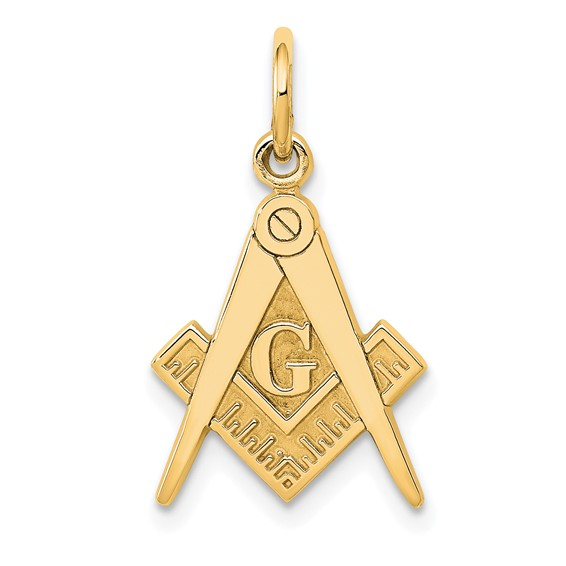 14kt Yellow Gold 5/8in Masonic G Compass and Square Charm