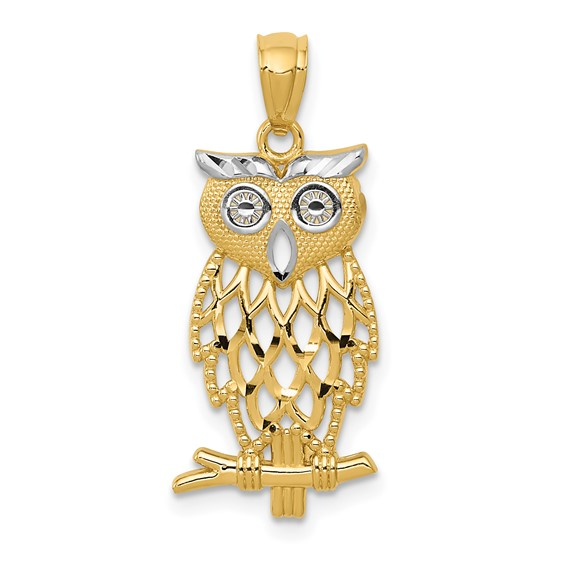 14kt Yellow Gold 3/4in Diamond-cut Owl Pendant