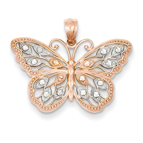 14kt Rose Gold 5/8in Diamond-cut Butterfly Pendant