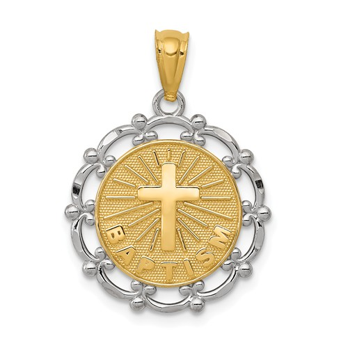 14k Two-tone Gold Fancy Baptism Pendant 5/8in