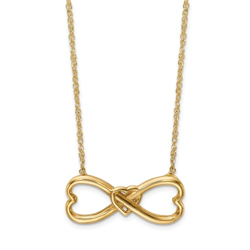 14k Yellow Gold Infinity Wrapped Heart Necklace 18in