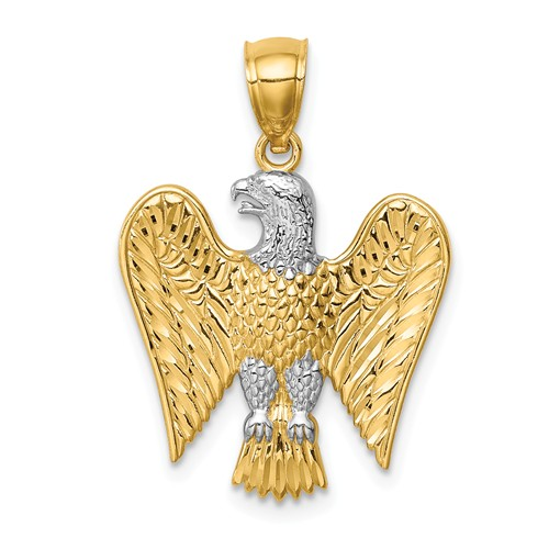 14k Yellow Gold and Rhodium Eagle Pendant with Wings Up 3/4in