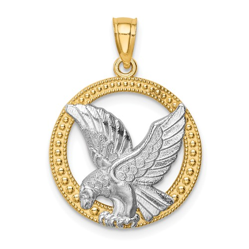 14k Yellow Gold with Rhodium Eagle Pendant with Round Border 11/16in