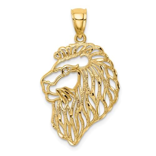 14k Yellow Gold Diamond-Cut Lion Profile Pendant 7/8in