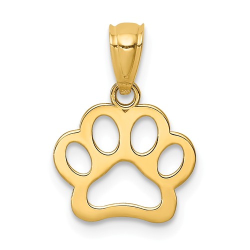 14k Yellow Gold Dog Paw Pendant 3/8in