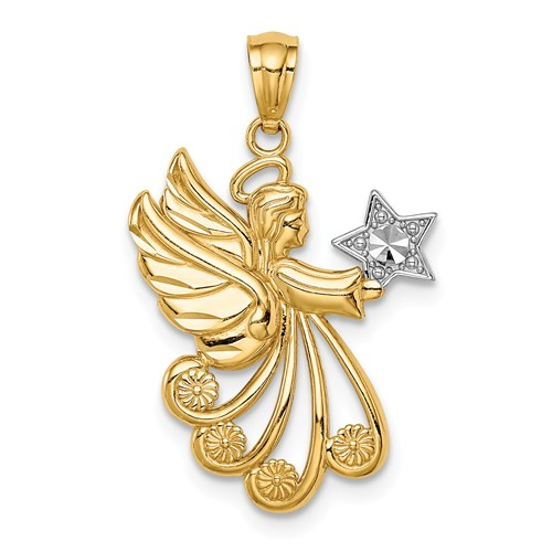 14k White Gold Rhodium Diamond-cut Angel with a Star 3/4in