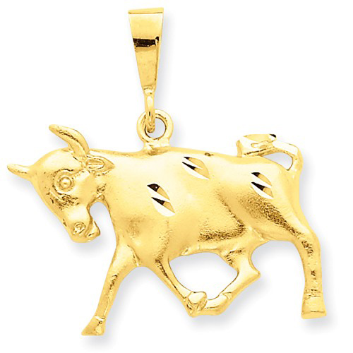 14kt Yellow Gold 3/4in Taurus Zodiac Pendant