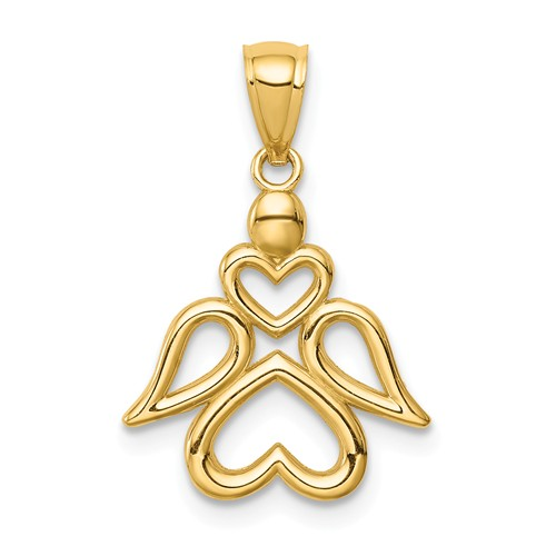 14k Yellow Gold Angel Pendant with Open Hearts 1/2in