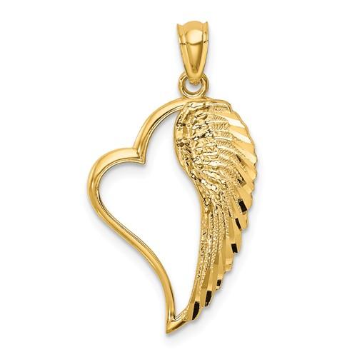 14k Yellow Gold Angel Wing in Heart Pendant 3/4in