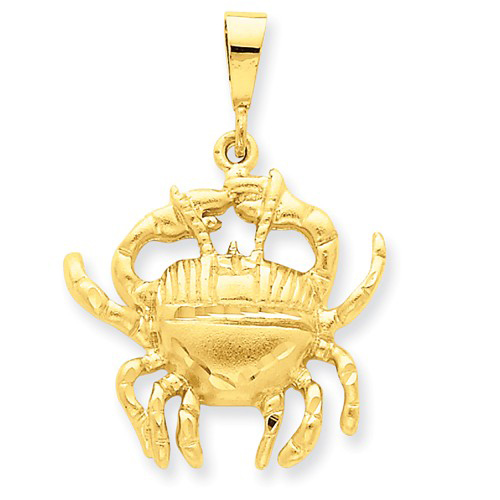 14kt Yellow Gold 1in Cancer Zodiac Pendant