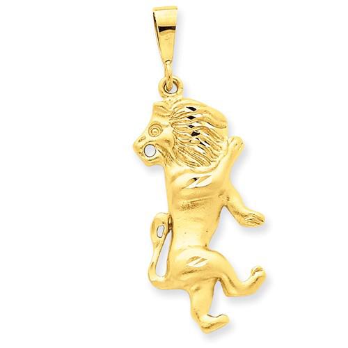 14kt Yellow Gold 1 1/4in Leo Zodiac Pendant