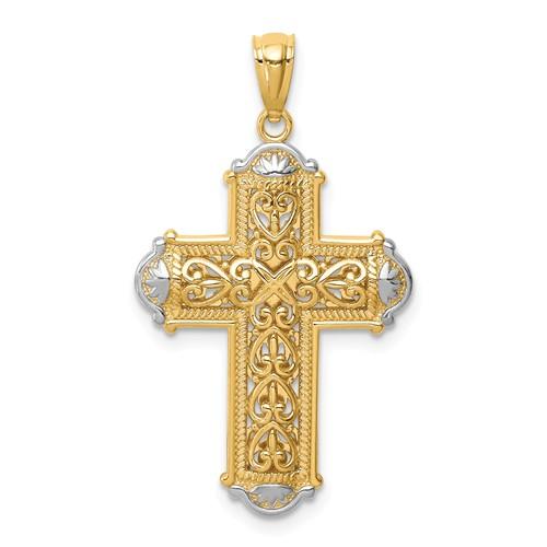 14k White Gold Rhodium Reversible Fancy Cross Pendant 7/8in