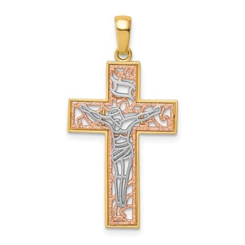 14k Two-tone Gold Rhodium Crucifix Pendant 1in