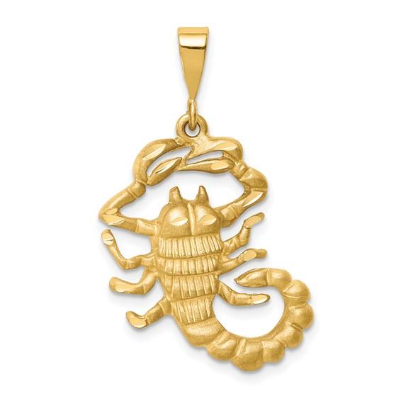 14kt Yellow Gold 1in Scorpio Zodiac Pendant