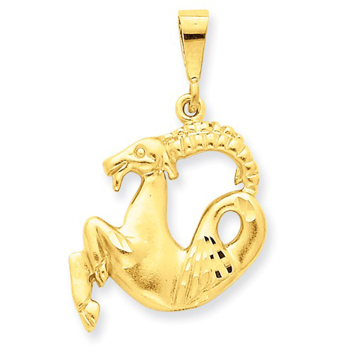 14kt Yellow Gold 1in Capricorn Zodiac Pendant
