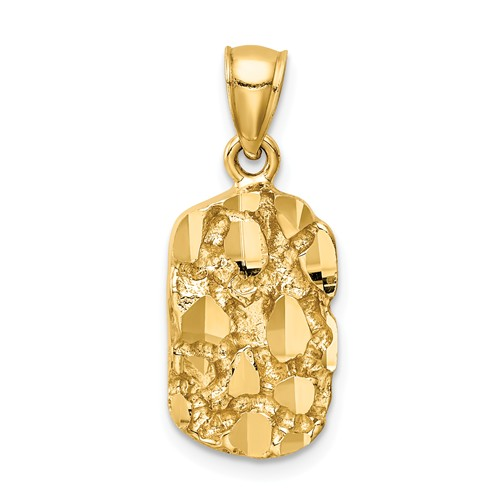 14k Yellow Gold Nugget Pendant 5/8in