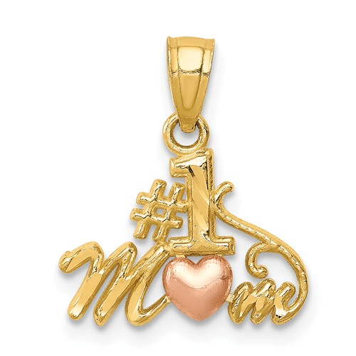 14k Two-tone Gold #1 Mom Pendant 3/8in