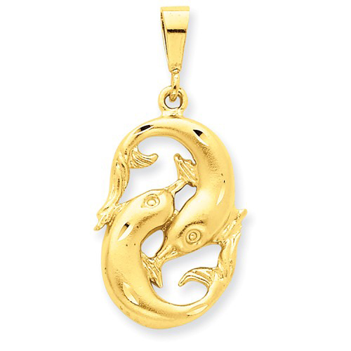 14kt Yellow Gold 1in Pisces Zodiac Pendant